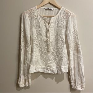 Zara embroidered long sleeve blouse white